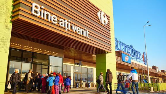 Brasov carrefour property division shopping mall facade entrance