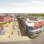 Aerian 3D picture of BAB2 carmila carrefour property shopping centre project in anglet